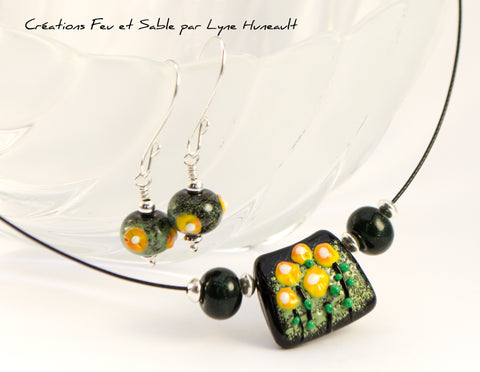 Meadows in Bloom - Earrings - Spring Green and Yellow on Black