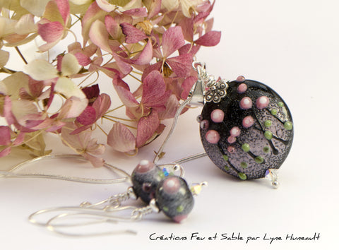 Meadows in Bloom - Glass Pendant - Pink on Black