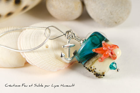 Sand and Sea - Square Pendant with Starfish