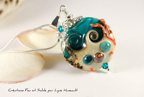 Sand and Sea - Lentil Pendant with Coral Branch