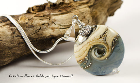 Life Swirl - Shades of blue and sand - Pendant with Chain