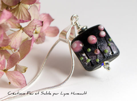 Meadows in Bloom - Square Pink on Black Pendant
