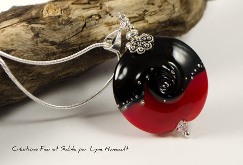 Life Swirl - Red and Black - Pendant with Chain