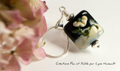 Flower Pendant in Shades of Green and Ivory