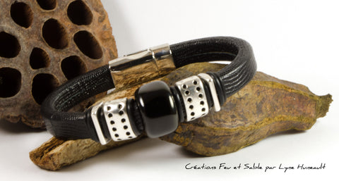 Black Textured Leather, Silver Tone and Glass Bead