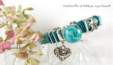 Women's turquoise Regaliz leather bracelet with glass cabochon by Fire and Sand Creations