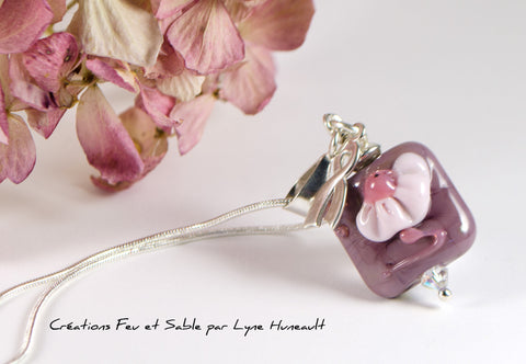 Flower Pendant in Shades of Purple and Pink