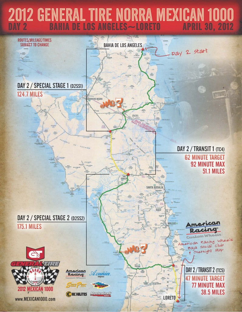 NORRA Mexican 1000 Day Two Map