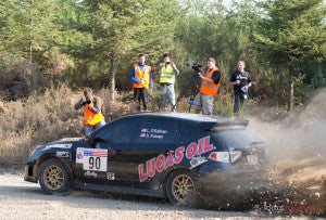 Lucas Oil Subaru Sprays Gravel at Olympus Rally
