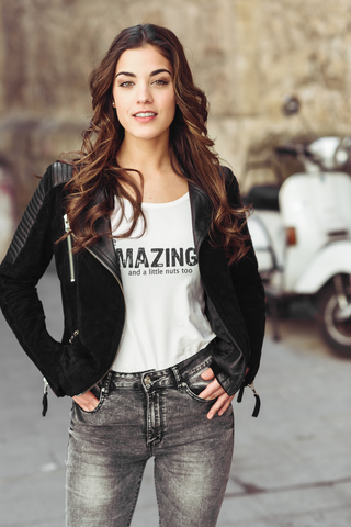 be AMAZING and a little nuts too - Women's Scoop Neck Tee - Nutsack Foods