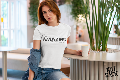 be AMAZING and a little nuts too - Unisex Triblend Tee Shirt - Nutsack Foods