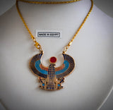 brass-and-enamel-necklace-winged-horus-with-chain-handmade-in-egypt
