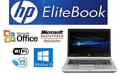 Sleek Enhanced Laptop PC - EliteBook 8470P - 14-Inch LED – Dual-Core i5 Processor (Turbo Boost 3.3GHz) - Upgraded to 8GB DDR3 RAM - 'New' 120GB Solid State Drive SSD - Windows 10 Pro DVD±RW - USB 3.0