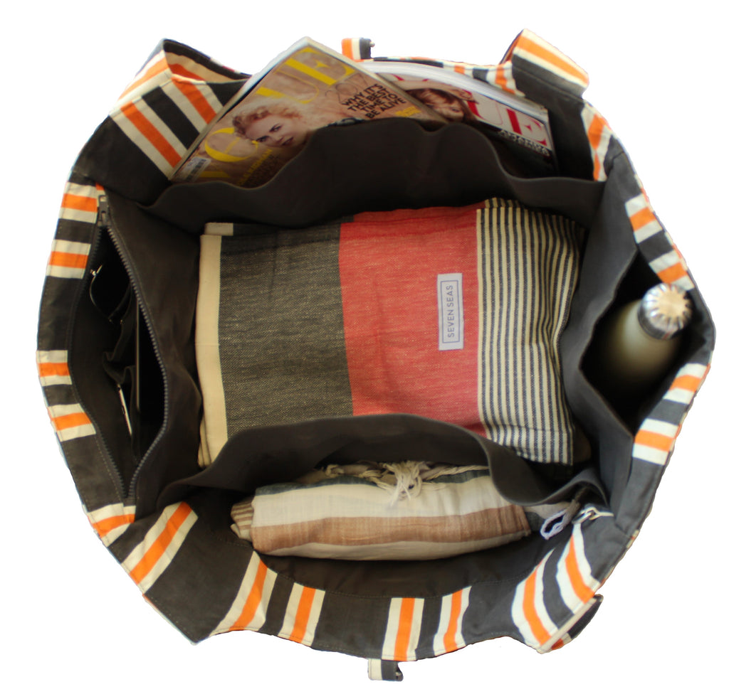 Cove Carry-All Bag - Striped Charcoal x Orange