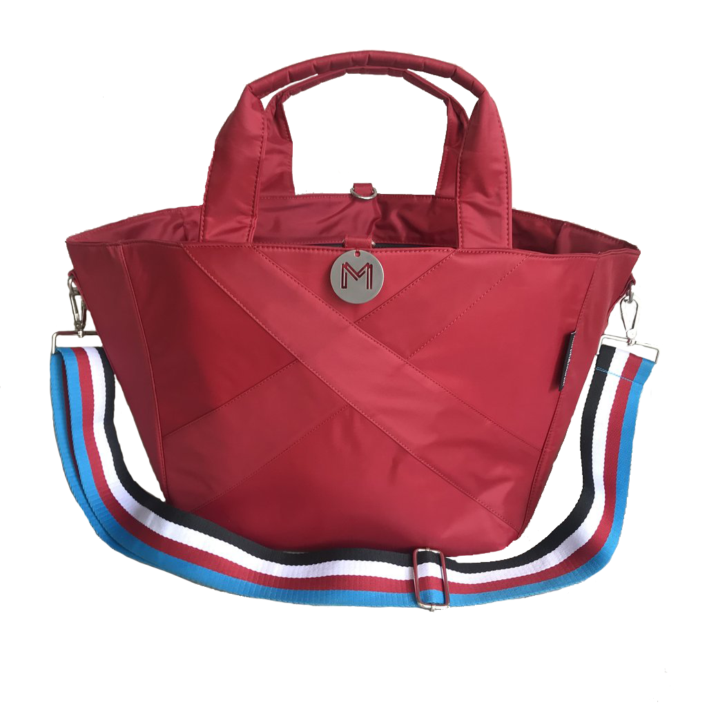 Cove Traveller Bag - Crimson - Striped Strap