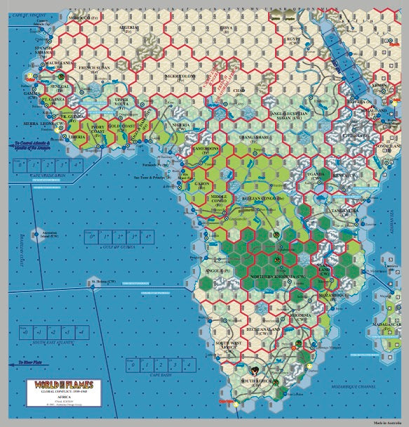 World in Flames7 Africa Aflame and Asia Aflame (paper) map set (2)