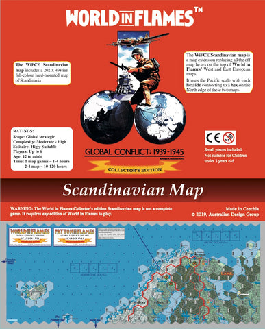 World in Flames Collector's Edition hard-mounted Scandinavian map  NEW!