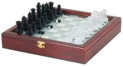 2162 CHH Ajedrez Cristal Mirror Board Glass Chess Set