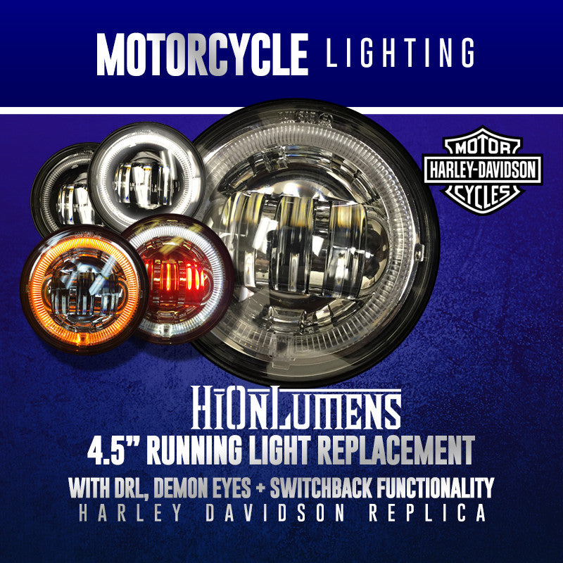 "4.5"" Harley Davidson Running Light Replacement (With DRL, Demon Eyes + Switchback Functionality)"