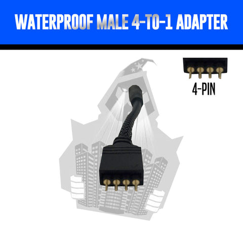 Waterproof Male > 4-to-1 Adapter