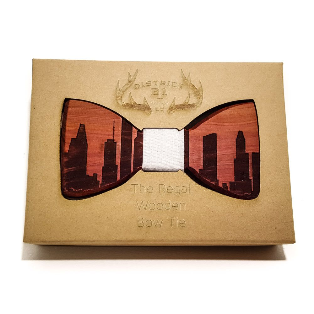 The Regal Wooden Bow Tie   Indianapolis Skyline