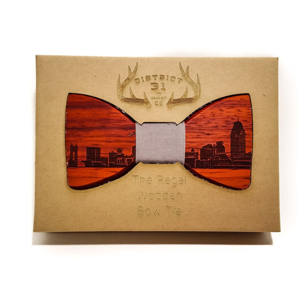 Bow Tie - The Regal Wooden Bow Tie - Cleveland Skyline - Redheart / Grey - District 31
