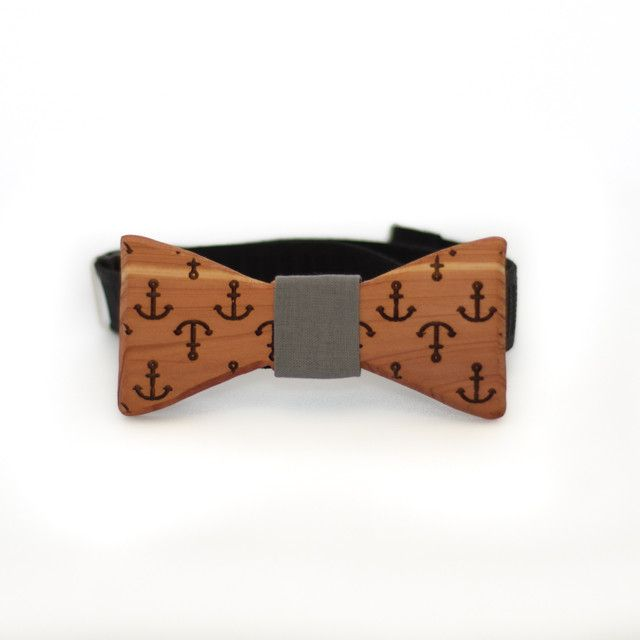 The Slimline Wooden Bow Tie   Anchors