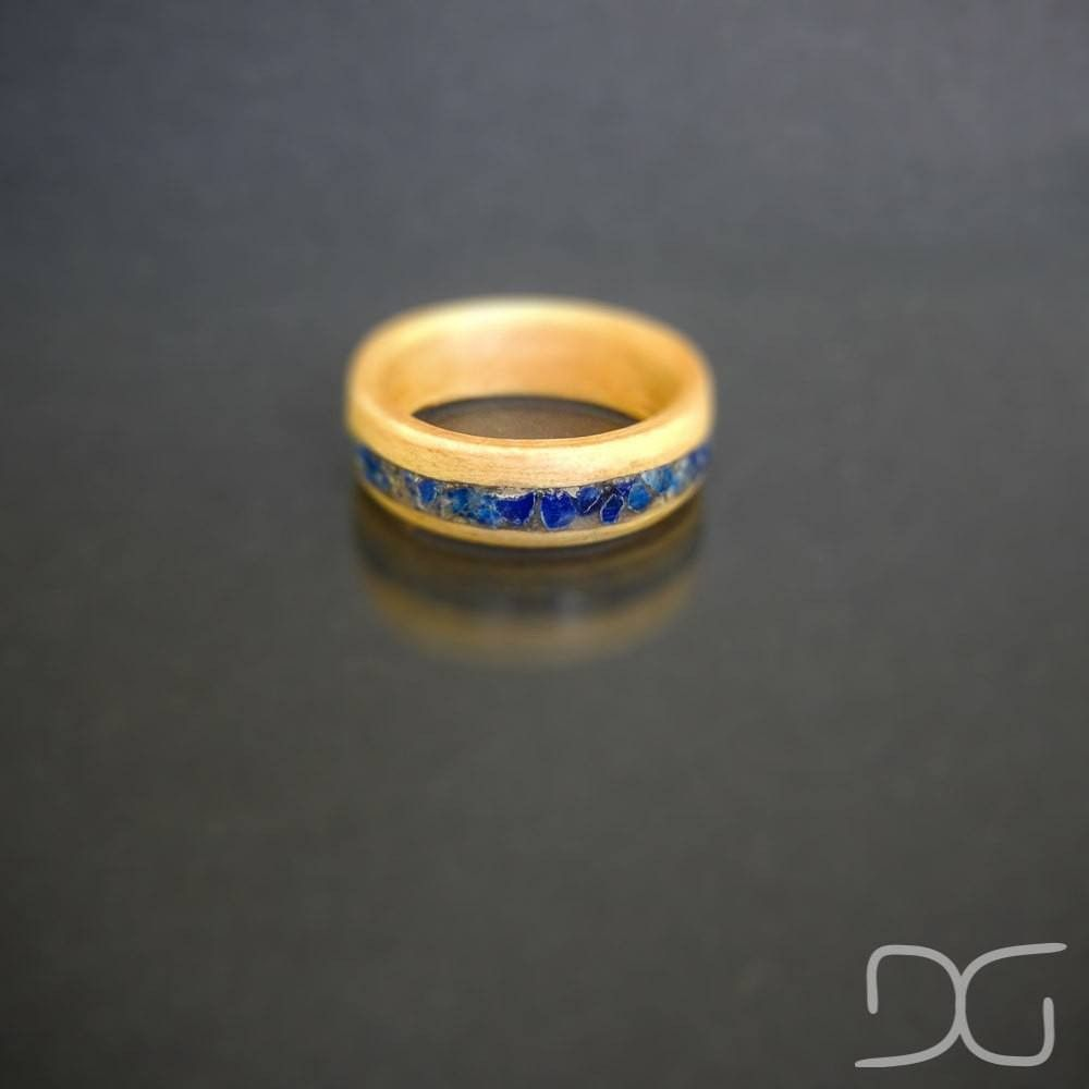 Bentwood Ring - Oak Men's Bentwood Ring with natural crushed blue Lapis stone inlay -  - District 31
