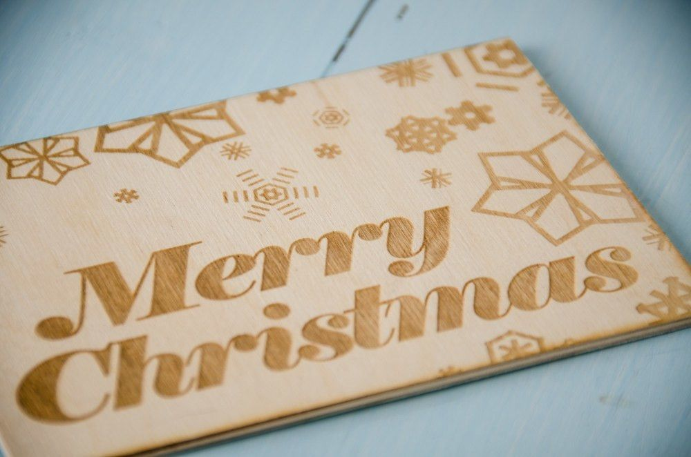 Holiday Decorations - Laser Engraved Christmas Card - Merry Christmas -  - District 31 - 1