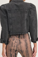 Load image into Gallery viewer, Black Distressed Cropped Denim Jacket