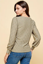Load image into Gallery viewer, Sage Eyelet Puff Sleeve