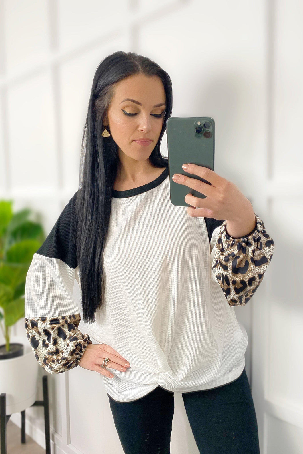 Leopard and Waffle Knit Top