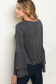 Charcoal Bell Sleeve Top