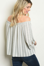 Ivory Olive Striped Top
