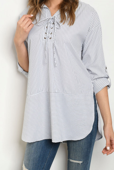 White Navy Stripe Top