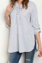 Load image into Gallery viewer, White Navy Stripe Top