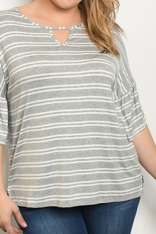 Grey White Striped Plus Size Top
