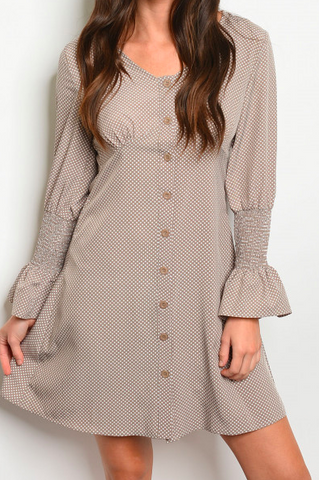 Taupe With Dots Dress