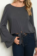 Load image into Gallery viewer, Charcoal Bell Sleeve Top