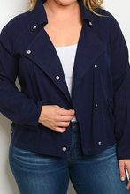 Load image into Gallery viewer, Navy Plus Size Jacket
