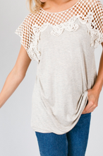 Load image into Gallery viewer, Oatmeal Crochet Top