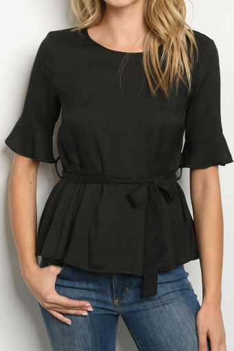 Black Top with Tie Waist