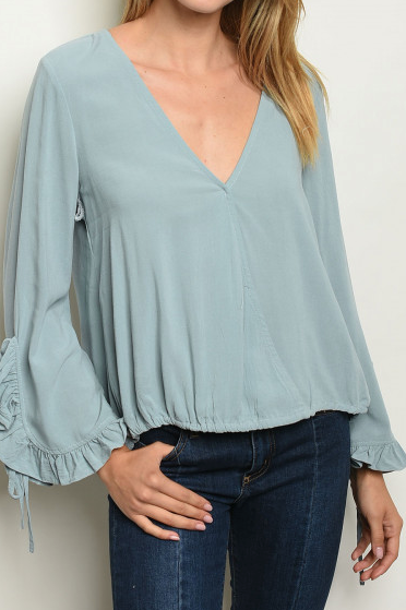 Vintage Blue Sleeve Top