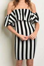 Load image into Gallery viewer, White Black Striped Dress