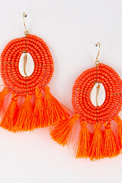 Pink Beaded Tassel Earrings