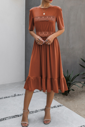 Rust Ruffles and Lace Dress