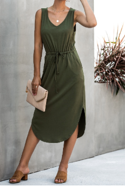 V-neck Sleeveless Army Green Dress