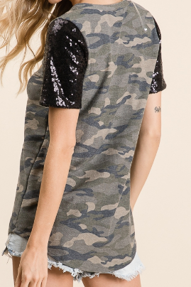Sequins and Camo Top