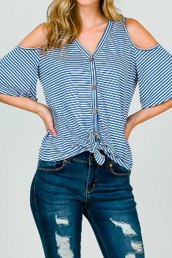 Denim Stripes Cold Shoulder Top