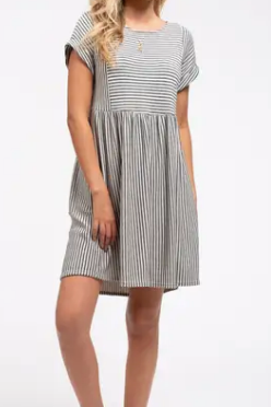 Natural and Black Stripe Dress